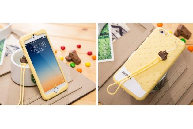 """Фирменная необычная уникальная полимерная мягкая задняя панель-чехол-накладка для iPhone 6+ Plus 5.5"""" """"тематика Андроид в ванильном  Шоколаде"""""""