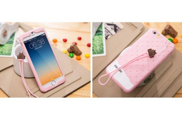 """Фирменная необычная уникальная полимерная мягкая задняя панель-чехол-накладка для iPhone 6+ Plus 5.5"""" """"тематика Андроид в клубничном шоколаде"""""""