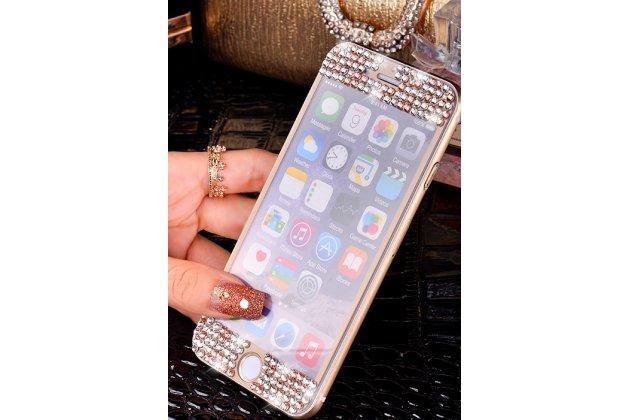 """Фирменный набор из защитных закалённых противоударных стекл украшенных стразами кристалликами из качественного японского материала с олеофобным покрытием и  для iPhone 6+ Plus 5.5"""" золотое"""