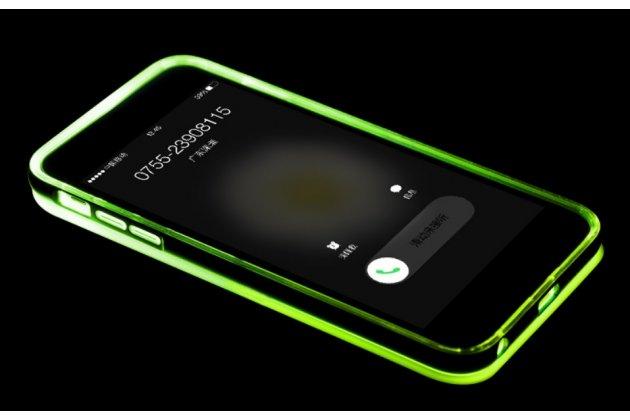 """Фирменная светящаяся / c подсветкой ультра-тонкая полимерная из мягкого качественного силикона задняя панель-чехол-накладка для iPhone 6+ Plus 5.5"""" зеленого цвета"""