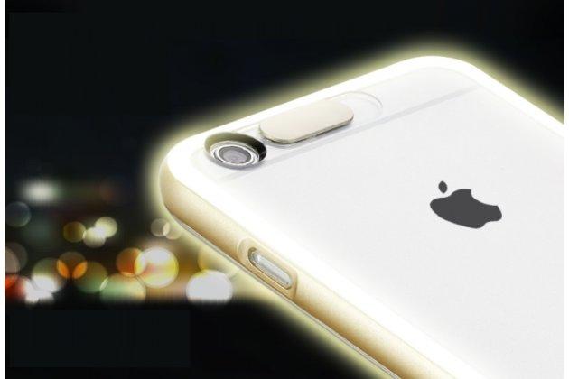 """Фирменная светящаяся / c подсветкой ультра-тонкая полимерная из мягкого качественного силикона задняя панель-чехол-накладка для iPhone 6+ Plus 5.5"""" золотого цвета"""