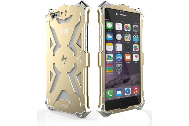 """Противоударный металлический чехол-бампер из цельного куска металла с усиленной защитой углов и необычным экстремальным дизайном  для iPhone 6+ Plus 5.5"""" золотого цвета"""