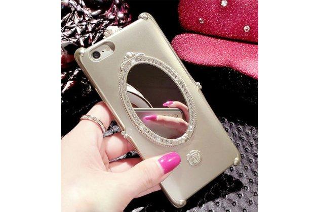 """Фирменная задняя панель-чехол-накладка с кристаликами и встроенным зеркальцем для iPhone 6+ Plus 5.5""""золотая"""