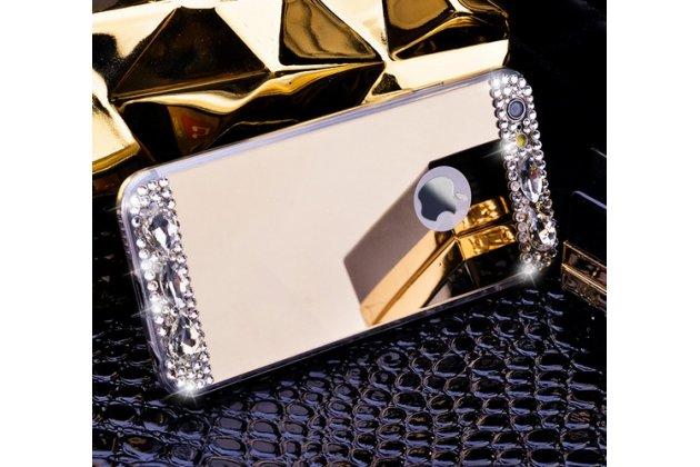 """Фирменная ультра-тонкая полимерная из мягкого качественного силикона задняя панель-чехол-накладка украшенная стразами и кристаликами для iPhone 6+ Plus 5.5"""" золотая"""