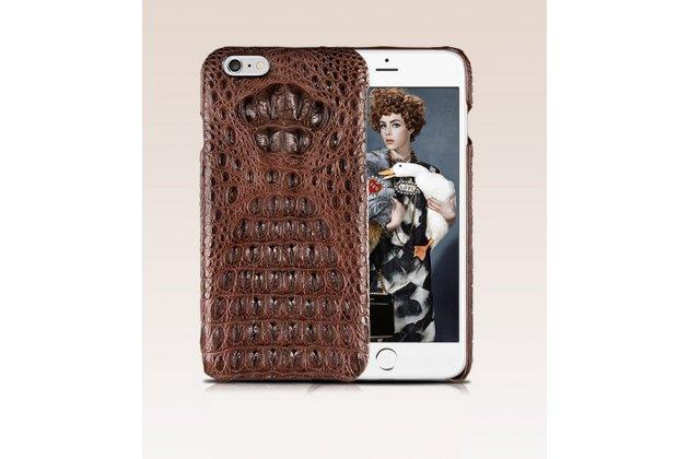 """Элитная задняя панель-крышка премиум-класса из тончайшего и прочного пластика обтянутого кожей крокодила для iPhone 6+ Plus 5.5"""" брутальный коричневый"""