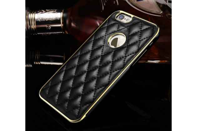 """Фирменная роскошная элитная задняя панель-крышка на металлической основе обтянутая импортной кожей прошитой стёганым узором для iPhone 6+ Plus 5.5"""" королевский черный"""