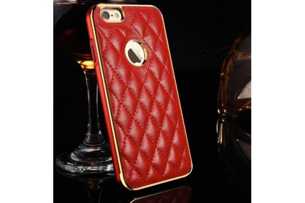 """Фирменная роскошная элитная задняя панель-крышка на металлической основе обтянутая импортной кожей прошитой стёганым узором для iPhone 6+ Plus 5.5"""" королевский красный"""