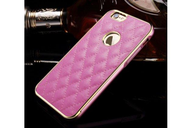 """Фирменная роскошная элитная задняя панель-крышка на металлической основе обтянутая импортной кожей прошитой стёганым узором для iPhone 6+ Plus 5.5"""" королевский розовый"""