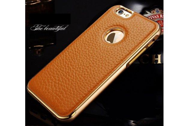 """Фирменная роскошная элитная премиальная задняя панель-крышка на металлической основе обтянутая импортной кожей для iPhone 6+ Plus 5.5"""" королевский коричневый"""
