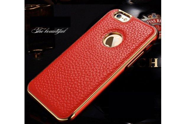 """Фирменная роскошная элитная премиальная задняя панель-крышка на металлической основе обтянутая импортной кожей для iPhone 6+ Plus 5.5"""" королевский красный"""