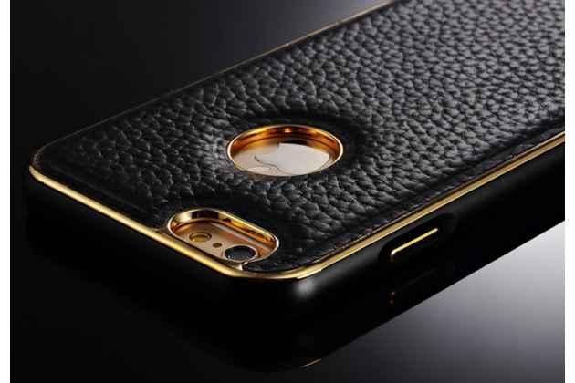 """Фирменная роскошная элитная премиальная задняя панель-крышка на металлической основе обтянутая импортной кожей для iPhone 6+ Plus 5.5"""" королевский черный"""