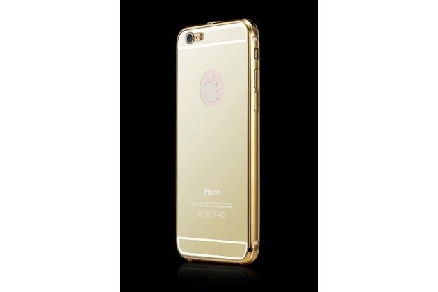 """Фирменная металлическая задняя панель-крышка-накладка из тончайшего облегченного авиационного алюминия для iPhone 6+ Plus 5.5"""" золотая"""