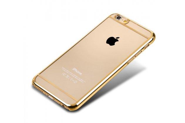 """Фирменная задняя панель-крышка-накладка из тончайшего и прочного пластика для iPhone 6+ Plus 5.5"""" прозрачная с золотой окаёмкой"""