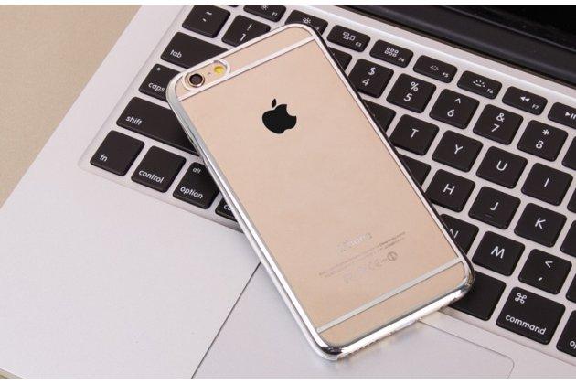 """Фирменная задняя панель-крышка-накладка из тончайшего и прочного пластика для iPhone 6+ Plus 5.5"""" прозрачная с серебряной окаёмкой"""