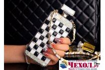 """Фирменная роскошная элитная силиконовая задняя панель-накладка-сумка украшенная стразами кристалликами и декорированная элементами в форме флакона духов для iPhone 6S Plus 5.5"""" черно-белая"""