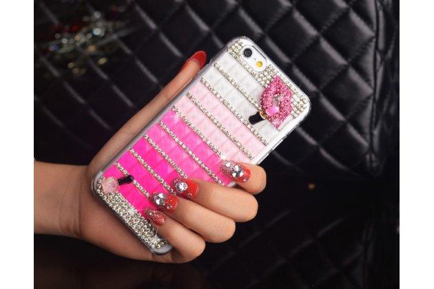 """Фирменная роскошная элитная пластиковая задняя панель-накладка украшенная стразами кристалликами и декорированная элементами для iPhone 6+ Plus 5.5"""" розовая"""