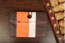 Чехол-обложка для Archos 80 XS коричневый с оранжевой полосой кожаный