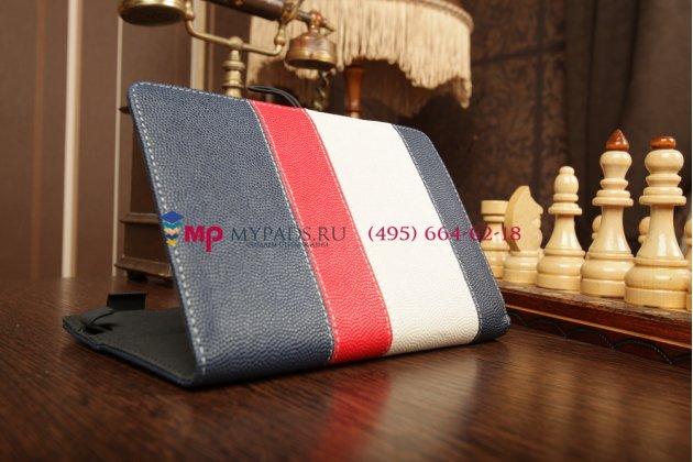 Чехол-обложка для Archos 80 XS синий с красной полосой кожаный