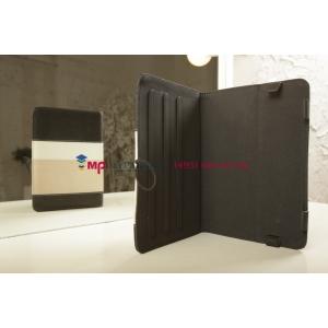 Чехол-обложка для Archos 80 Xenon 4Gb черный с серой полосой кожаный