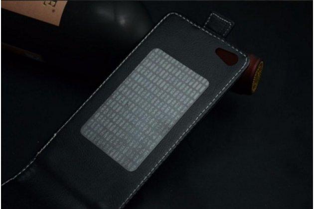 """Фирменный оригинальный вертикальный откидной чехол-флип для Ark Benefit I2  черный из натуральной кожи """"Prestige"""" Италия"""