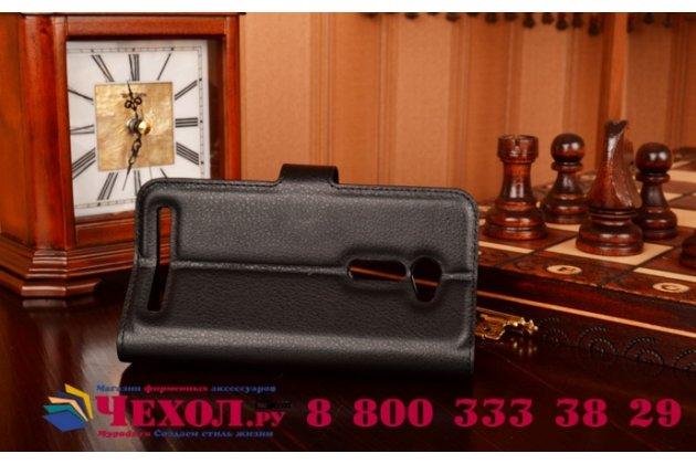 Фирменный чехол-книжка из качественной импортной кожи с мульти-подставкой застёжкой и визитницей для Арк Бэнефит М2 черный