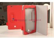 Чехол-обложка для Asus FonePad ME371MG с визитницей и держателем для руки красный кожаный