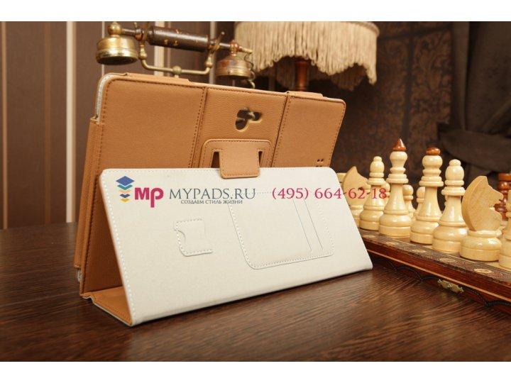 Фирменный чехол-обложка для Asus Padfone 2 A68 с визитницей и держателем для руки коричневый кожаный