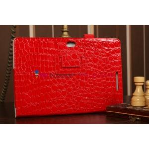 Фирменный чехол-обложка для Asus VivoTab Smart ME400C/ME400CL кожа крокодила алый огненный красный