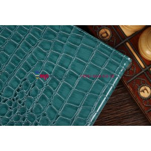 Фирменный чехол-обложка для Asus VivoTab Smart ME400C/ME400CL кожа крокодила синий