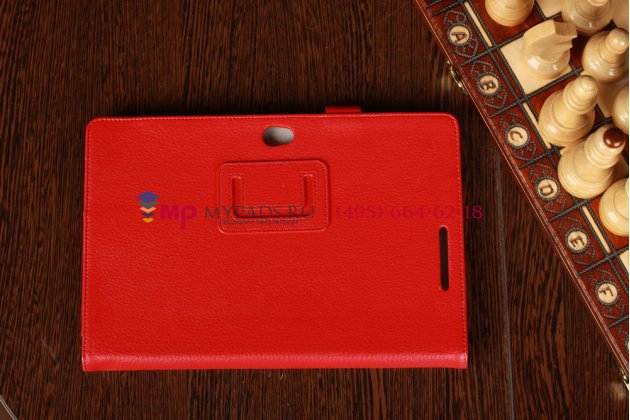 """Чехол-обложка для Asus VivoTab Smart ME400C/ME400CL с визитницей и держателем для руки красный кожаный """"Prestige"""" Италия"""