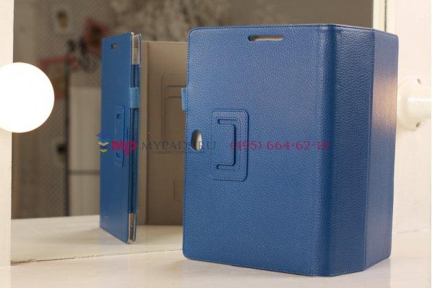 """Чехол-обложка для Asus VivoTab Smart ME400C/ME400CL с визитницей и держателем для руки синий кожаный """"Prestige"""" Италия"""