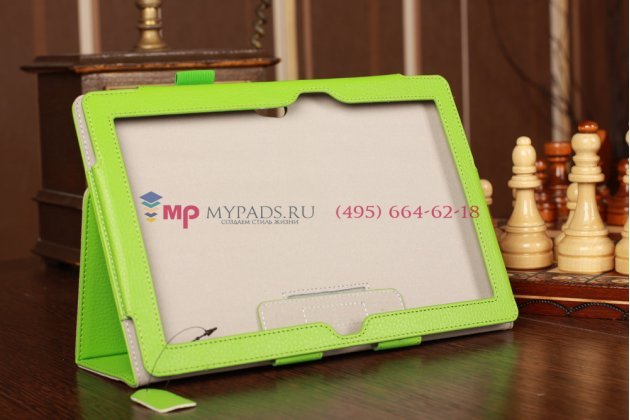 """Чехол-обложка для Asus VivoTab Smart ME400C/ME400CL с визитницей и держателем для руки зеленый кожаный """"Prestige"""" Италия"""