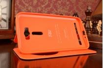 """Фирменный чехол-книжка для ASUS Zenfone 2 Laser ZE601KL 6.0"""" оранжевый с окошком для входящих вызовов из импортной кожи"""