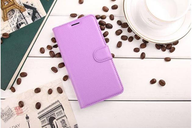 """Фирменный чехол-книжка для  ASUS ZenFone 3 Deluxe ZS550KL 5.5"""" с визитницей и мультиподставкой фиолетовый кожаный"""