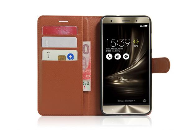 """Фирменный чехол-книжка для  ASUS ZenFone 3 Deluxe ZS550KL 5.5"""" с визитницей и мультиподставкой коричневый кожаный"""