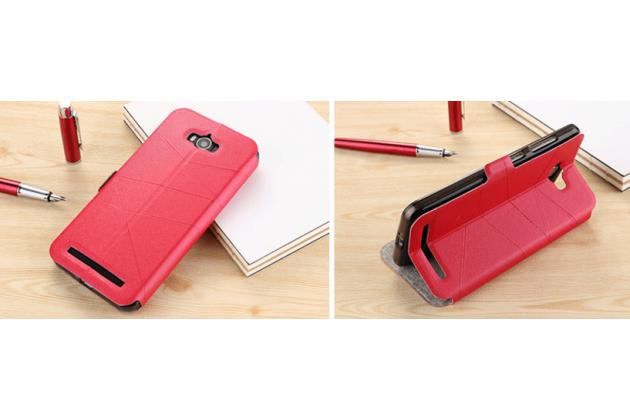 """Фирменный оригинальный чехол-книжка для ASUS ZenFone 3 Deluxe ZS550KL 5.5"""" красный с окошком для входящих вызовов"""