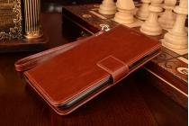 """Фирменный чехол-книжка для  ASUS ZenFone 3 / Zenfone 3 Neo ZE520KL 5.2"""" с визитницей и мультиподставкой коричневый кожаный"""
