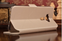 """Фирменный оригинальный чехол-книжка для ASUS ZenFone 3 / Zenfone 3 Neo ZE520KL 5.2""""  белый водоотталкивающий с окошком для входящих вызовов"""