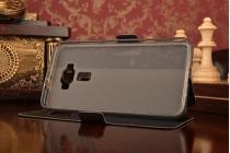 """Фирменный оригинальный чехол-книжка для ASUS ZenFone 3 / Zenfone 3 Neo ZE520KL 5.2""""  черный водоотталкивающий с окошком для входящих вызовов"""