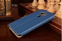 """Фирменный оригинальный чехол-книжка для ASUS ZenFone 3 / Zenfone 3 Neo ZE520KL 5.2""""  синий водоотталкивающий с окошком для входящих вызовов"""