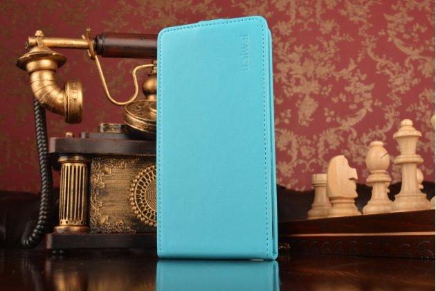 """Фирменный оригинальный вертикальный откидной чехол-флип ASUS ZenFone 3 Max ZC553KL 5.5"""" голубой из натуральной кожи Prestige Италия"""