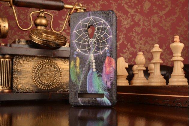 """Фирменный чехол-книжка с безумно красивым рисунком на ASUS Zenfone 5 / Zenfone 5 LTE A501CG/A500KL с окошком для звонков тематика """"Ловец Снов"""""""