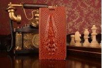 Фирменный роскошный эксклюзивный чехол с объёмным 3D изображением кожи крокодила коричневый для Asus Zenfone 5 Lite A502CG. Только в нашем магазине. Количество ограничено