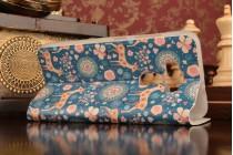 """Фирменный чехол-книжка с рисунком на тему """"Олени в цветах"""" на ASUS ZenFone 3 / Zenfone 3 Neo ZE520KL 5.2 с окошком для звонков"""