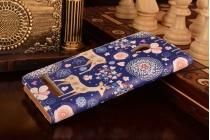"""Фирменный уникальный необычный чехол-книжка для Asus Zenfone 5 A502CG """"тематика Олени в цветах"""""""