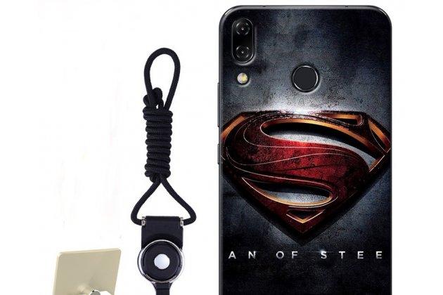 """Фирменная роскошная задняя панель-чехол-накладка  из мягкого силикона с безумно красивым расписным 3D рисунком на ASUS ZenFone 5/ 5Z (ZE620KL/ZS620KL) """"тематика Superman"""""""