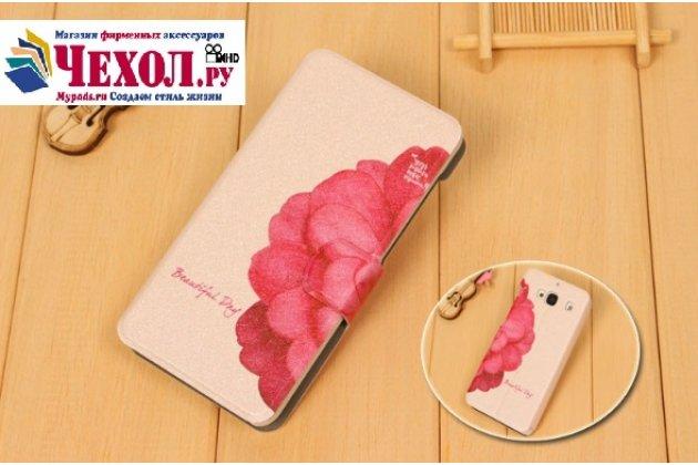 Фирменный чехол-футляр-книжка для ASUS ZenFone AR ZS571KL тематика Алый Цветок