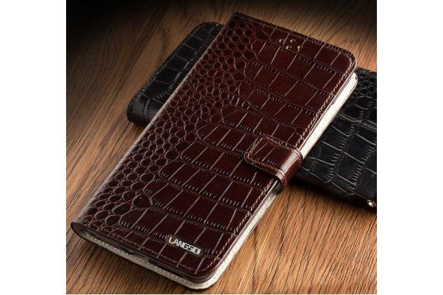 Фирменный роскошный эксклюзивный чехол с фактурной прошивкой рельефа кожи крокодила и визитницей коричневый для ASUS ZenFone AR ZS571KL. Только в нашем магазине. Количество ограничено