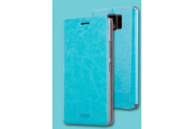 Фирменный чехол-книжка из качественной водоотталкивающей импортной кожи на жёсткой металлической основе для ASUS ZenFone AR ZS571KL бирюзовый