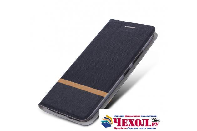 Фирменный чехол-книжка с визитницей и мультиподставкой на жёсткой металлической основе для ASUS ZenFone AR ZS571KL 5.7 черный из настоящей джинсы